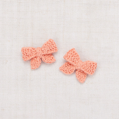 Cotton Hand Knit Baby Puff Bow Set - Coral