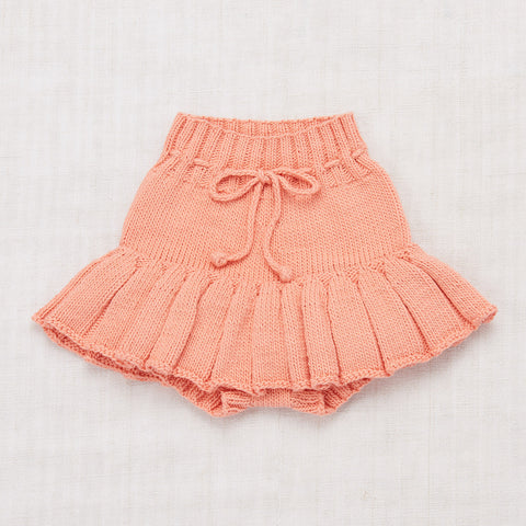 Cotton Hand Knit Skating Pond Skirt - Coral
