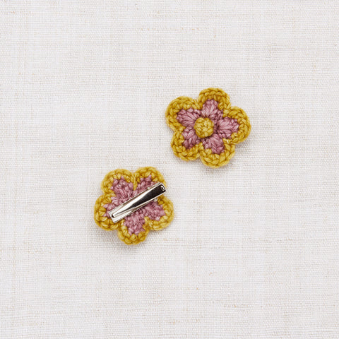 Hand Knit/Crochet Medium Flower Clip Set - Antique Rose/Winter Wheat