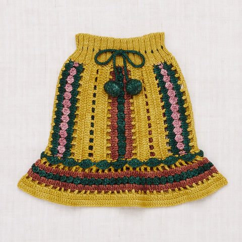 Hand Knit/Crochet Merino Wool Marni Skirt - Winter Wheat