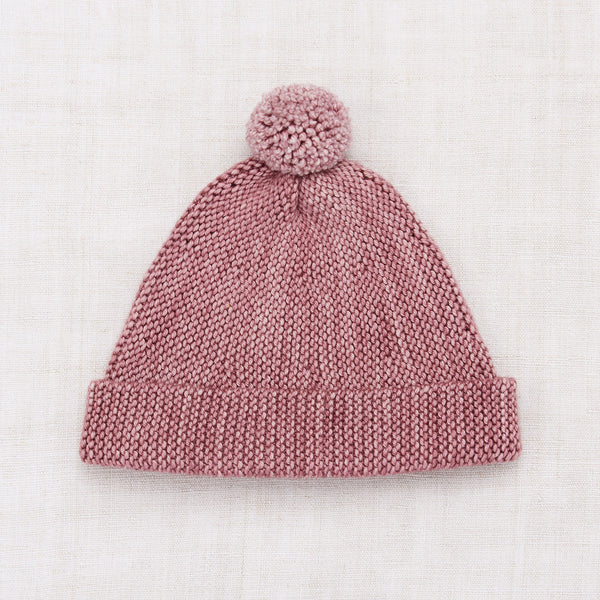 Hand Knit Merino Wool Garter Hat - Antique Rose