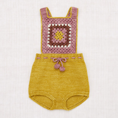 Hand Knit/Crochet Merino Wool Lake House Romper - Antique Rose