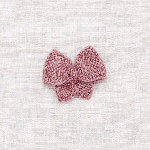 Hand Knit Medium Puff Bow - Antique Rose