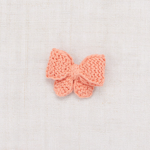 Cotton Hand Knit Medium Puff Bow - Coral