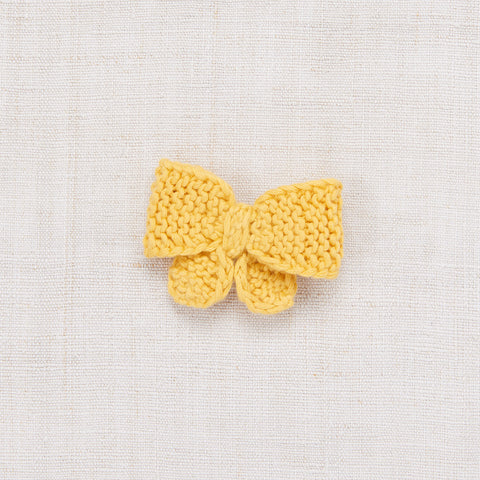 Cotton Hand Knit Medium Puff Bow - Sunflower