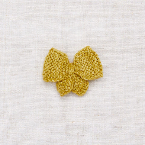Hand Knit Medium Puff Bow - Winter Wheat