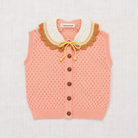 Cotton Zoe Vest With Hand Crochet - Coral