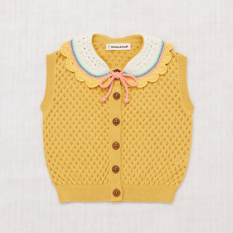 Cotton Zoe Vest With Hand Crochet - Ochre