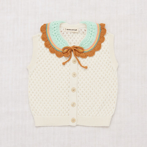 Cotton Zoe Vest With Hand Crochet - Vanilla