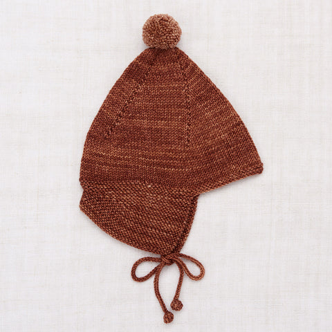 Hand Knit Merino Wool Pointy Peak Hat - Chestnut
