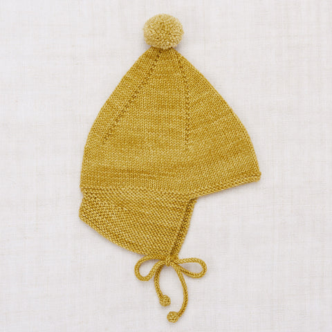 Hand Knit Merino Wool Pointy Peak Hat - Winter Wheat
