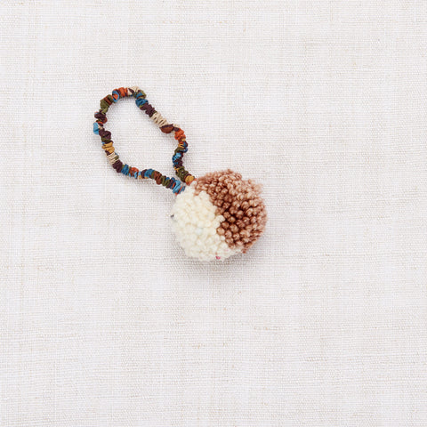 Merino Wool Pom Pom Hair Tie - Chestnut