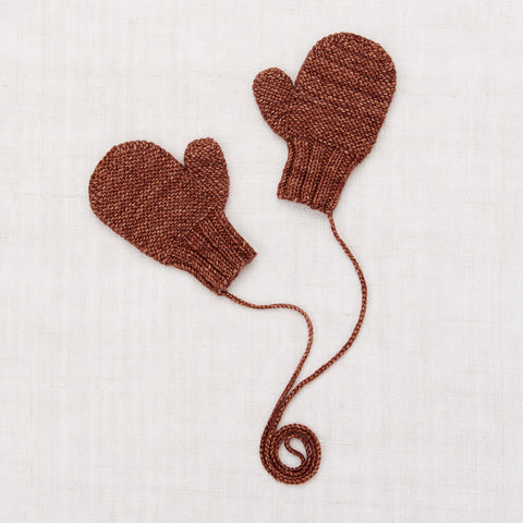 Hand Knit Merino Wool Safe Harbor Mittens - Chestnut