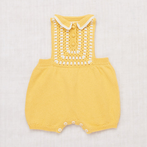 Cotton Ezra Romper With Hand Crochet - Sunflower