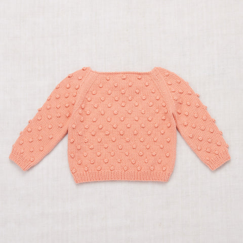 Cotton Hand Knit Summer Popcorn Sweater - Coral