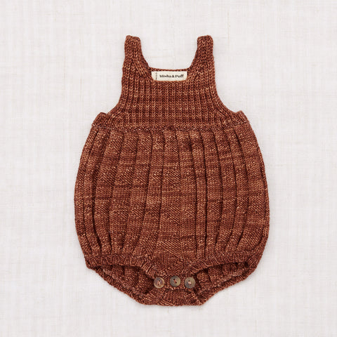 Hand Knit Merino Wool Orchard House Romper - Chestnut