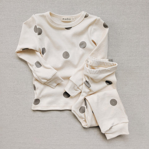 Organic Cotton Spotted Pyjamas - Grey