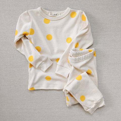 Organic Cotton Spotted Pyjamas - Yellow
