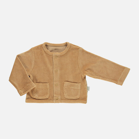 Organic Cotton Velour Manioc Jacket - Indian Tan