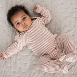 Organic Cotton Rib Babysuit - Clay/Ecru