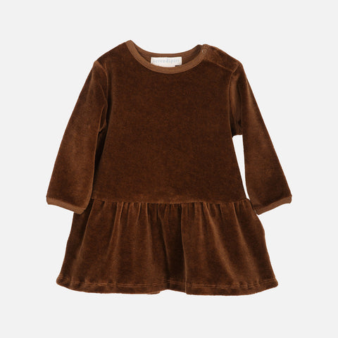 Organic Cotton Baby Velour Dress - Caramel