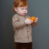 Organic Cotton Baby Velour Leggings - Caramel