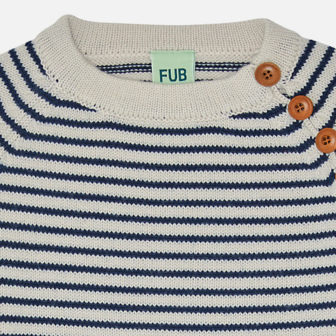 Merino Wool Stripe Sweater - Ecru/Navy