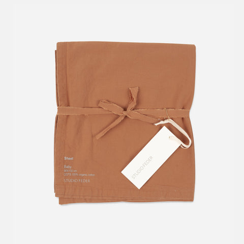 Organic Cotton Flat Sheet - Caramel - Single
