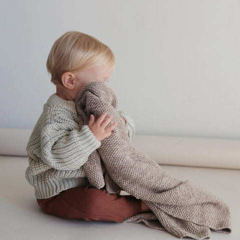 100% Cotton Knitted Blanket/Swaddle - Caramel