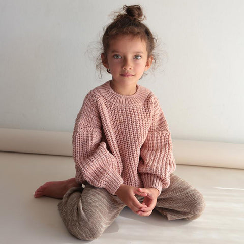 100% Cotton Chunky Rib Sweater - Rose
