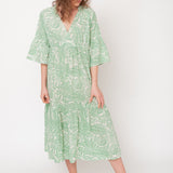 Women's Organic Cotton Tulsi Dress - Green Print