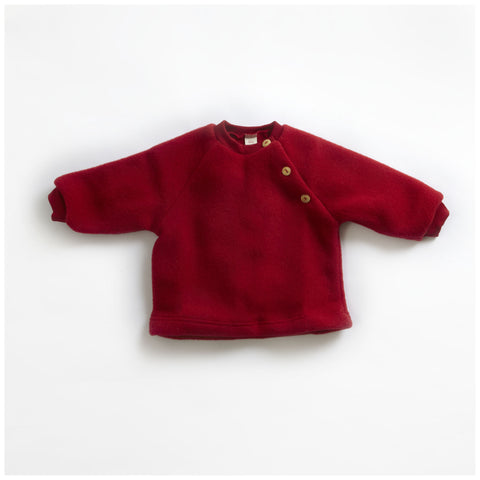 100% Organic Merino Wool Fleece Sweater - Red - 3-6m