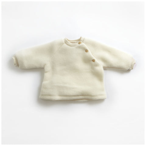 Soft organic 100% merino wool natural fleece sweater 0-6m