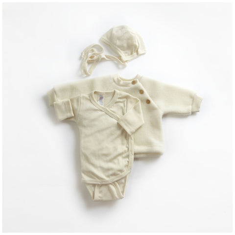 Organic Silk & Merino Wool Wrap Body - Natural -  0-12m