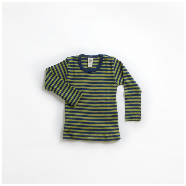 Organic Silk & Merino Wool Stripy Top/Vest Blue/Green 18m-14y
