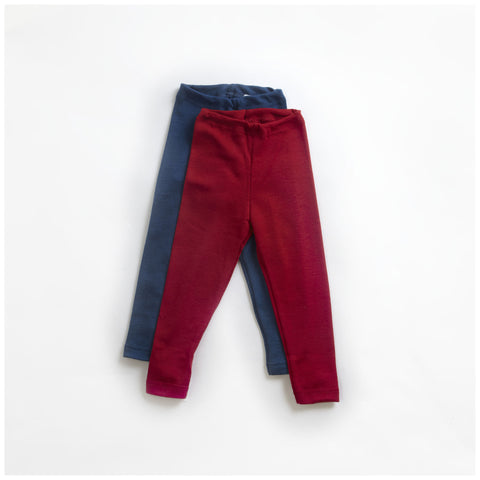 Organic silk & merino wool blue leggings 18m-12y
