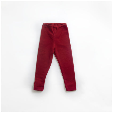 Organic Silk & Merino Wool Red Leggings 1-12y