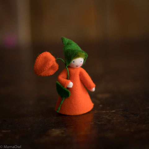 Handmade Autumn Wool Flower Fairy - Chinese Lantern