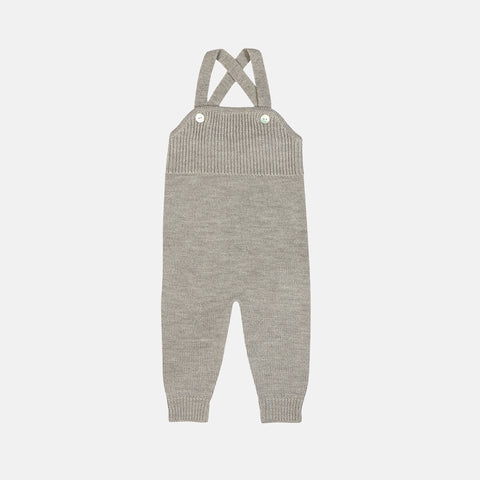 Soft Merino Baby Overalls - Light Grey - 0m-2y