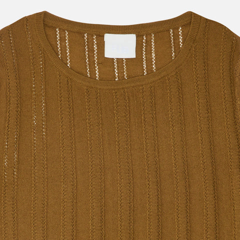 Women's Merino Wool Pointelle Sweater - Sienna