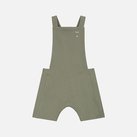 Organic Cotton Baby Short Salopette - Moss