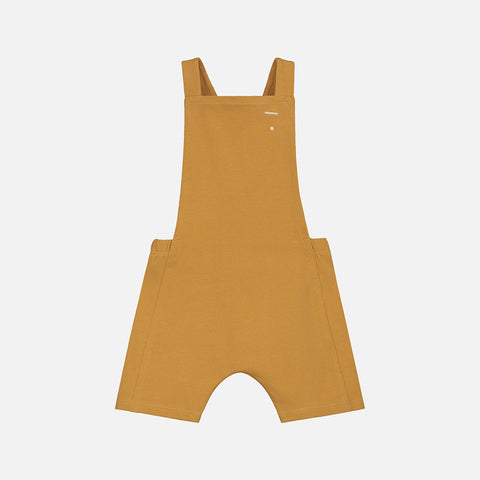 Organic Cotton Baby Short Salopette - Mustard