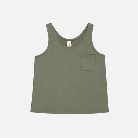 Organic Cotton Pocket Tank Top - Moss