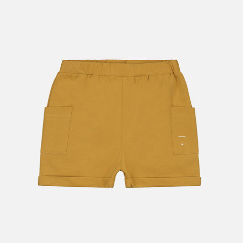 Organic Cotton Relaxed Pocket Shorts - Mustard