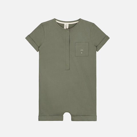 Organic Cotton Short Leg Suit - Moss