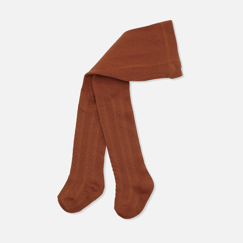 Organic Cotton Misa Pointelle Tights - Caramel