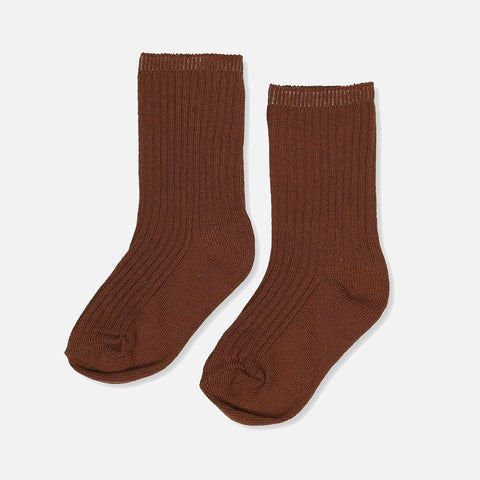 Organic Cotton Hisao Rib Socks - Caramel