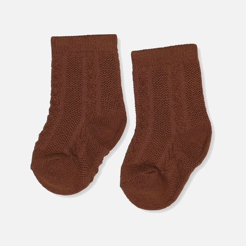 Organic Cotton Fuma Pointelle Socks - Caramel
