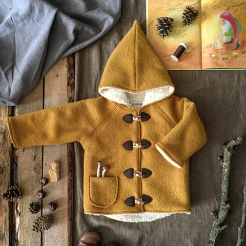 Wool Pixie Hooded Coat - Ochre