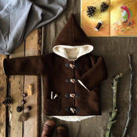 Wool Pixie Hooded Coat - Dark Brown